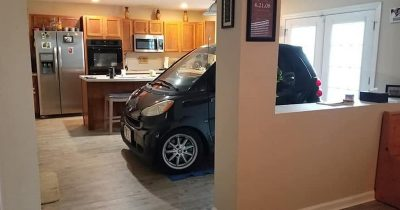 Man Decided To Park His Smart Car In His Kitchen To Prevent Hurricane Dorian Blowing It Away