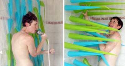 This Inflatable Shower Curtain Kicks You Out After 4 Minutes To Save Water