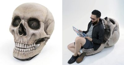 This Huge Skull Bean Bag Chair With Movable Jaw Is A Must Have For Halloween