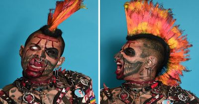 Tattoo Enthusiasts Showcase Their Freaky Designs At The International London Tattoo Convention