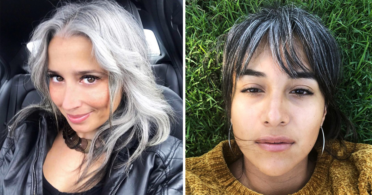 Women are rocking their natural grey hair for this year's trend.