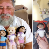 Grandad spends time crocheting dolls with vitiligo patches to help kids with vitiligo feel better.