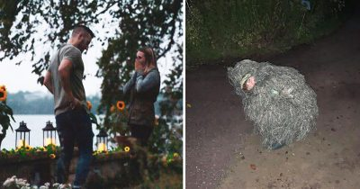Girl Dresses Up As A BUSH To Capture Her Sister's Wedding Proposal