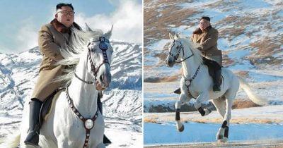 North Korea Releases Bizarre Pictures Of Kim Jong-Un Riding A White Horse