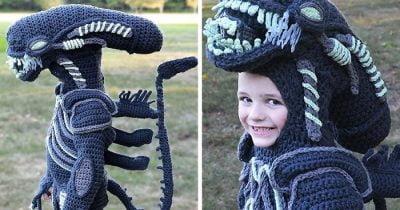 Mom Crochets Full Body Halloween Costumes For Her Children