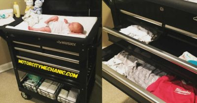 Dad Makes A 'Ultimate Diaper Changing Station' Using A Tool Cart For His Twins