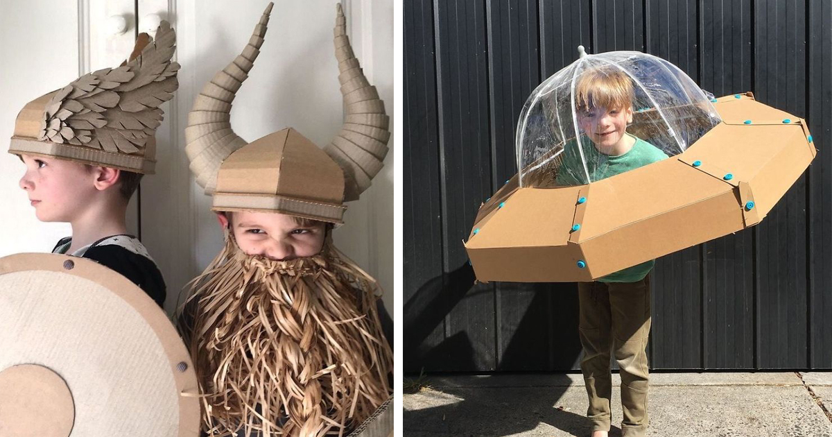 Mom Makes Costumes Out Of Cardboard Boxes For Her Children And Here're 20 Of The Best Ones