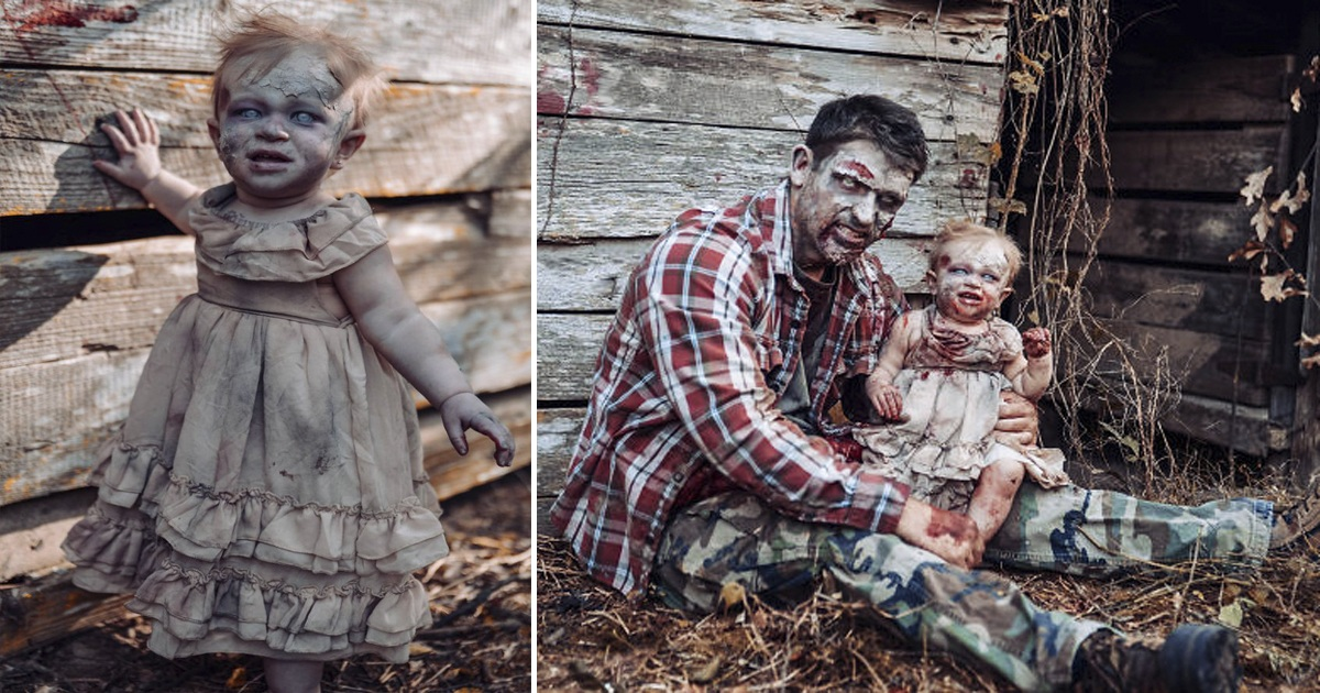 Baby Was Dressed As Zombie For Halloween Photoshoot And She Nailed It!