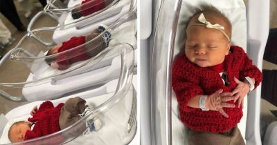 Hospital Dressed Newborns In Cute Red Crocheted Cardigans To Honor Mister Rogers