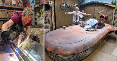 Inventor Builds Real-Life Version Of A Star Wars Landspeeder Vehicle In His Garage