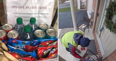 Amazon Prime Delivery Man Had The World's Honest Reaction To Finding Snacks Outside A Home