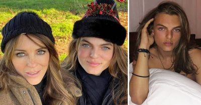 Elizabeth Hurley And Her Son Damian Look Like Identical Twins In Festive Selfie