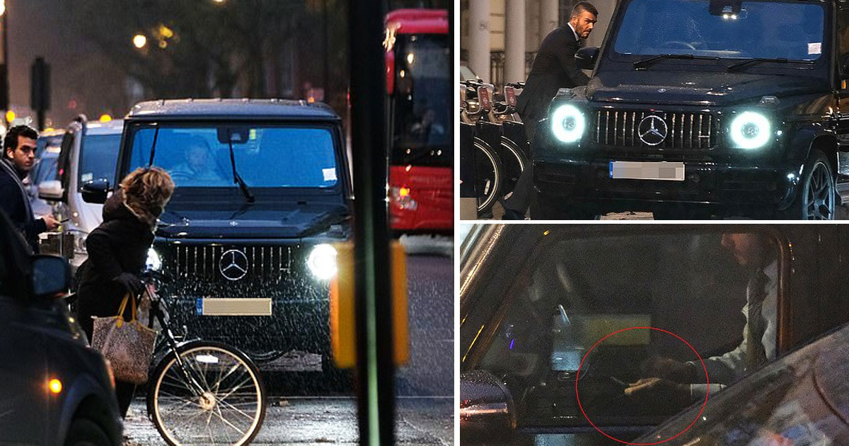 David Beckham Parked Illegally And Using A Phone At The Wheel Of His £150,000 G Wagon