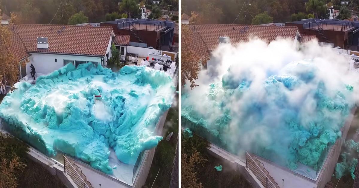 YouTubers Create World's Biggest Ever 'Foam Volcano' In Their Backyard