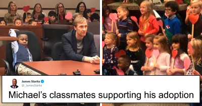 Boy Attends Adoption Hearing With His Whole Kindergarten Supporting And It's Beautiful