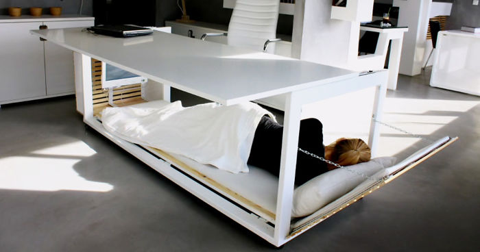 This Nap Desk Can Be Converted Into A Bed And Lets You Sleep At Work