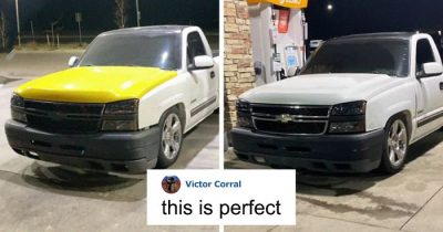 Man Posts An Ad With His Mismatched Colored Truck Hood, People Left Amazed When Another Driver Replies
