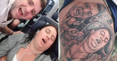 Wife Hilariously Shocked After Husband Gets Tattoo Done Of Her Snoring