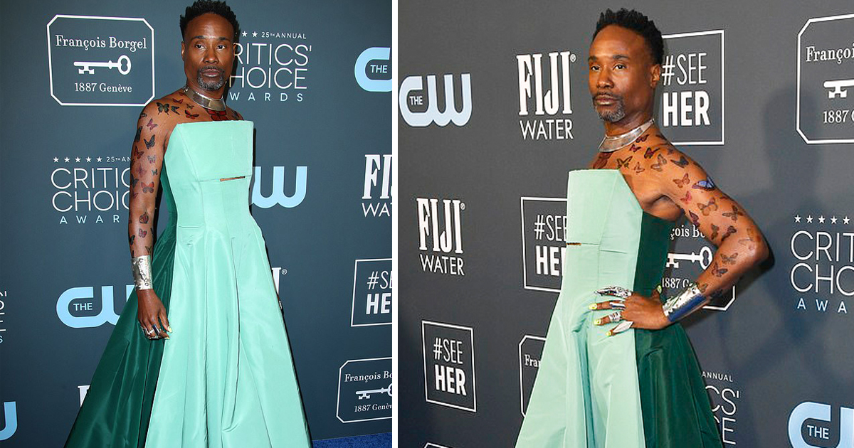 Billy Porter Rocks With Eye-Catching Green Jumpsuit Gown And Butterfly Body Art At The Critics Choice Awards