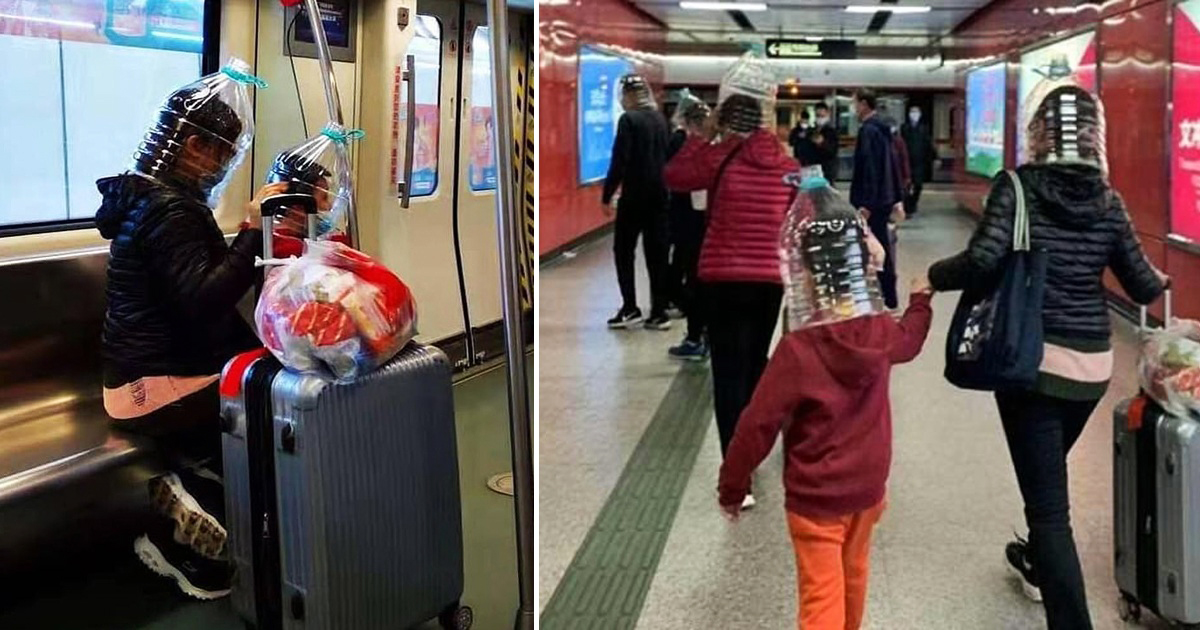 Anxious Chinese Travellers Captured Wearing Plastic Bottles To Protect Themselves From Coronavirus