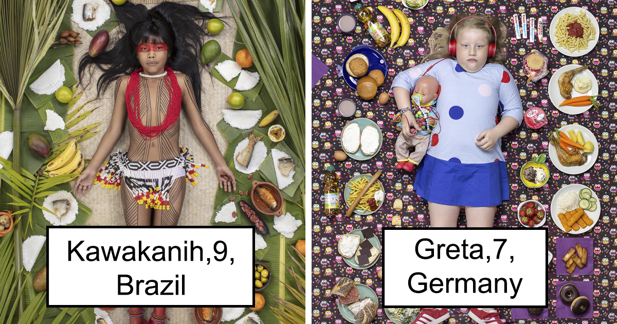 25 Photos Of Kids Around The World With What They Eat In A Week