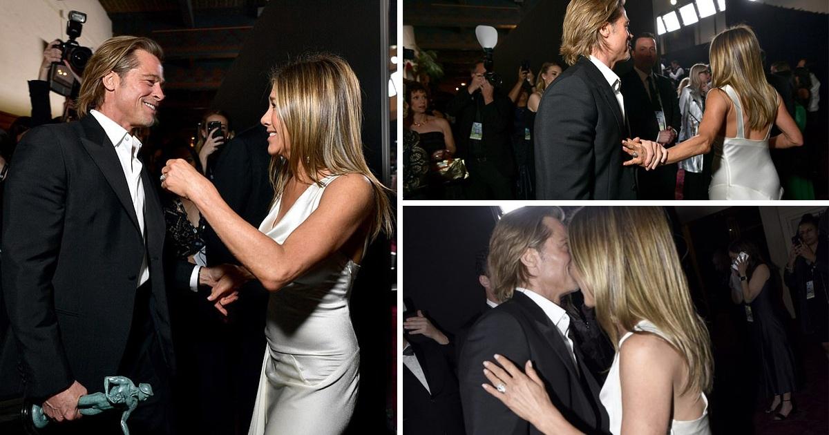 Brad Pitt And Jennifer Aniston Emotionally Reunite Backstage At SAGS Awards