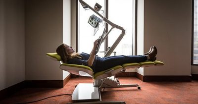 Company Invents An Office Desk That Lets Workers Lie On Their Back While On Task