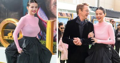 Selena Gomez stuns in pink and black Givenchy gown with Robert Downey Jr. on the premiere of Dr. Dolittle.