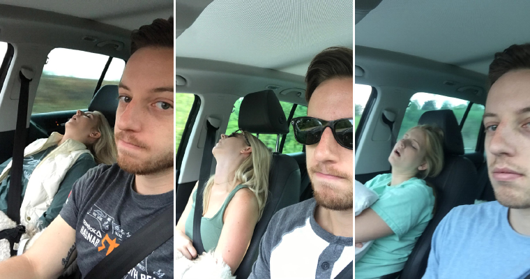 Husband Compiled Hilarious Photos Of All The Road Trips He Embarked On With His Wife