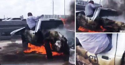 Hero Pulled Out Driver From Burning Truck As 20 People Stand Around Filming On Their Phones