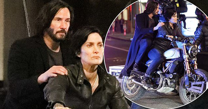Keanu Reeves And Carrie-Anne Moss Spotted Filming As 'Neo & Trinity' On A Bike For The Matrix 4