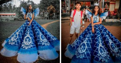Parents Couldn't Afford To Rent A Gown For Daughter's Prom Night, Brother Made Her One Instead