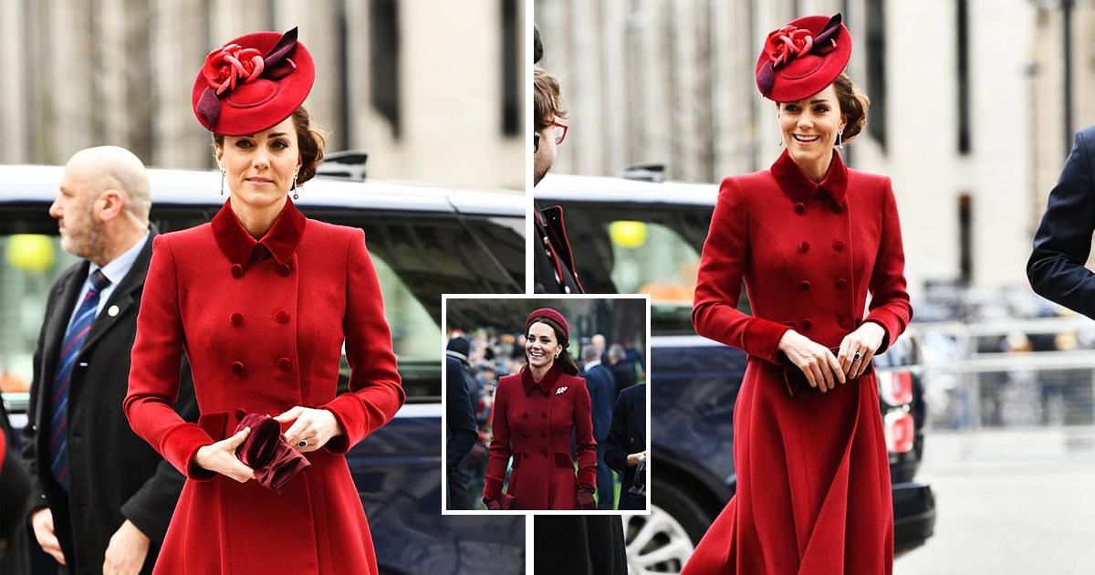Kate Middleton Recycles Walker Red Coat Dress For Commonwealth Service Alongside Meghan