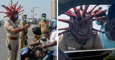 Indian Policeman Designs A Corona Helmet To Warn People Who Refuse To Stay At Home