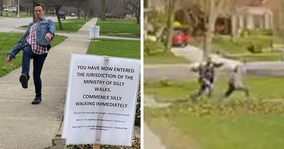 30 People Hilariously React To A Sign On The Sidewalk Telling Them To 'Commence Silly Walking' Immediately