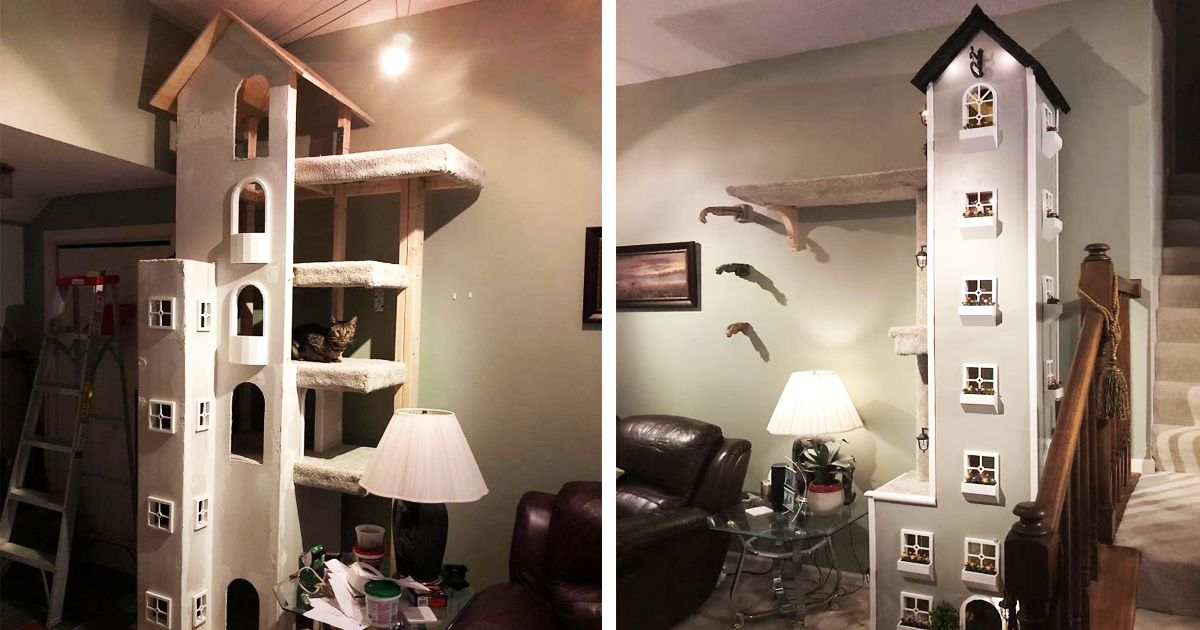 Man Made Two Kitty Towers For His Cats And People Loved It, Now He's Going To Start Sell The Building Plans