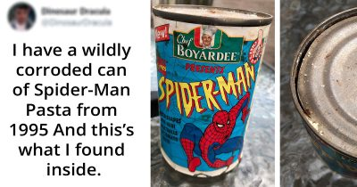 Man Finds A Can Of Spider-Man Pasta From 1995 And Shared What's Inside