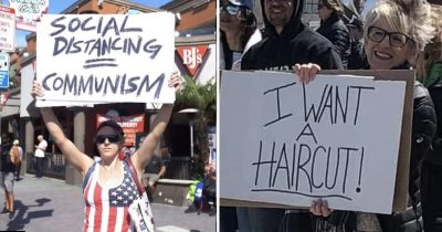 16 Dumb People Who Are Against The Lockdown Holding Hilarious Signs