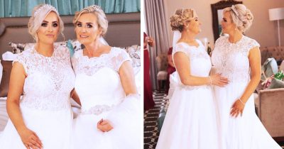 Identical Mom And Daughter Held Their Wedding Together While Keeping The Guests In The Dark