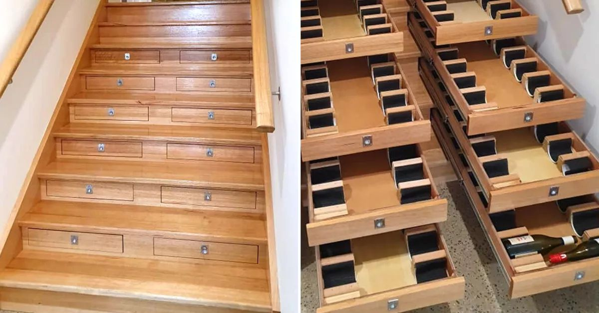 Man Turned Staircase Into A Functional Wine Cellar That Can Hold 156 Bottles
