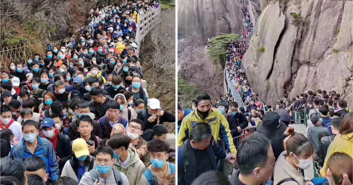 Thousands Pack Into China National Park As Tourists Comes Out Of Lockdown