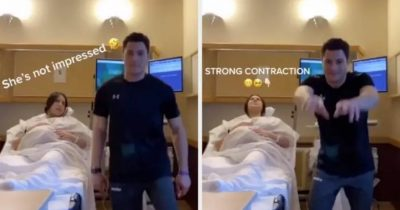 Funny man make dancing TikTok video while life was in labor.