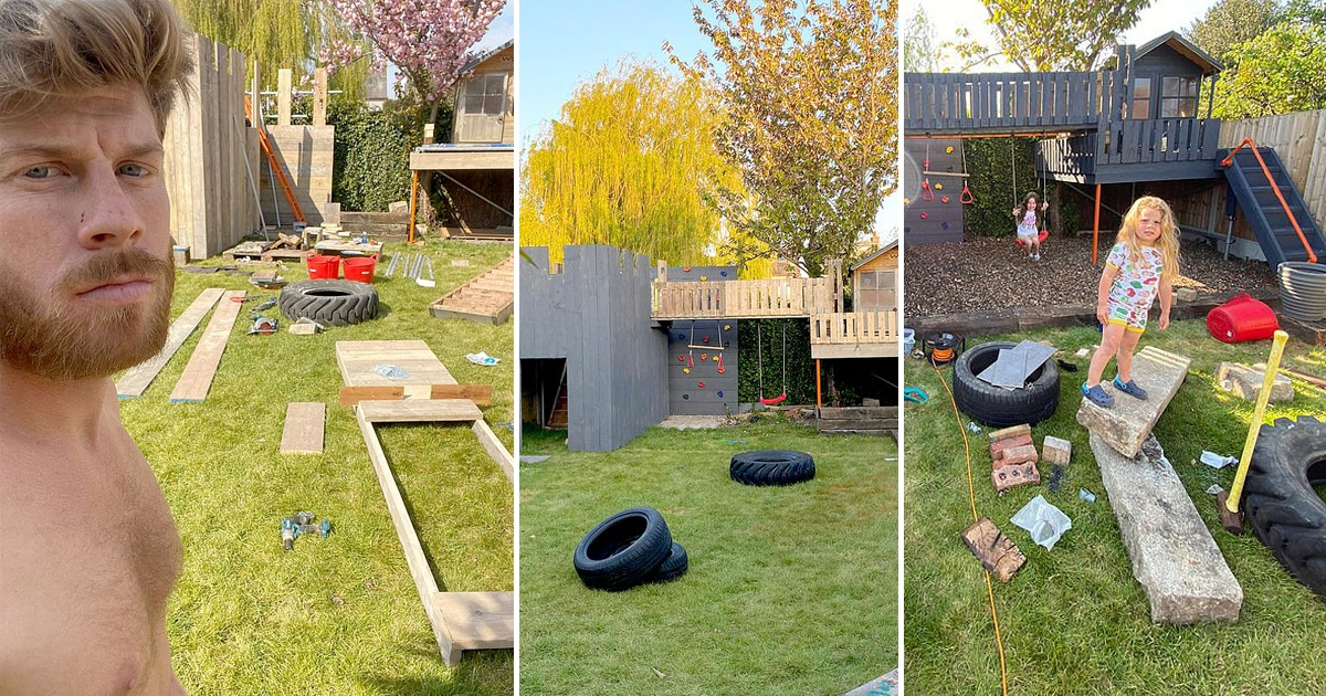 Dad Spent $200 To Build Incredible Back Garden Fortress For His Children In Just Three Days