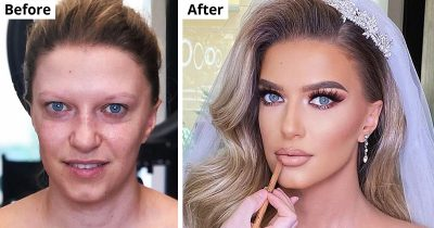 32 Stunning Brides Before And After Applying Their Wedding Makeup