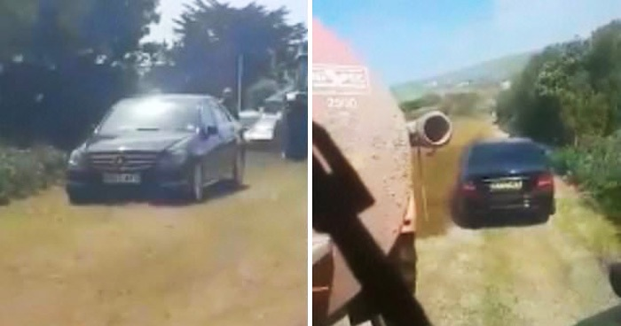 Farmer Covered Mercedes In Slurry After Driver Parked On His Land To Go To The Beach