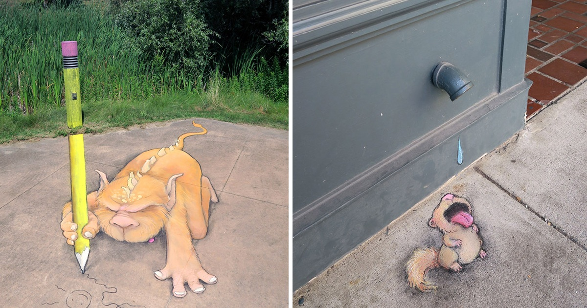 Artist's Clever 3D Chalk Art That Sums Up The Adventure On The Streets