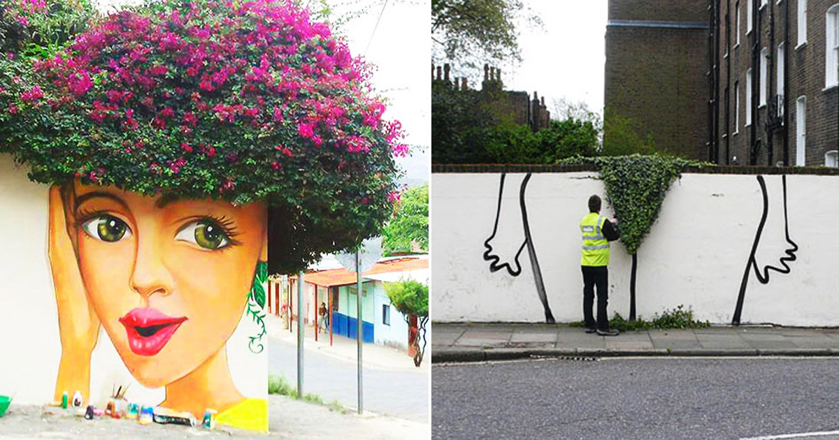 30 Example Of Clever Interaction Of Street Art With Nature