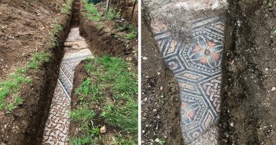 Well Preserved Roman Mosaic Floor Discovered Unearthed In An Italian Vineyard