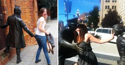 30 Hilarious People Who Took Posing With Sculptures To A Whole New Level