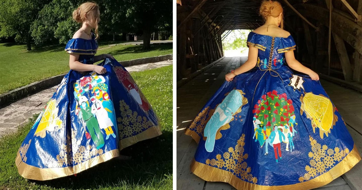 Girl Makes COVID-Themed Prom Dress Using 750 Meters Of Colored Duct Tape
